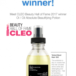 [AsterSpring Origin of Beauty] Congratulations to Davines Ol / Oil Absolute Beautifying Potion for bagging CLEO Beauty Hall of Fame 2017's Best Hair Oil.