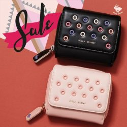 [Jelly Bunny] JELLY BUNNY END OF SEASON SALE• WALLET : POP EYELET SHORT WALLET / BLACK , PINK - MULTI / 41.