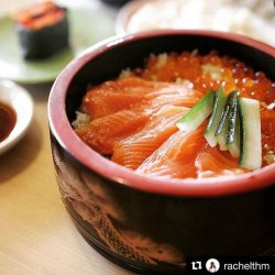 [Sushi Tei] Thank you @rachelthm for the tantalizing shot of our Salmon Ikura Don.