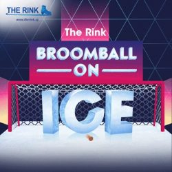 [THE RINK] The Rink's Broomball on Ice Challenge (played with shoes on ice) offers dazzling grand prize of 6 air tickets