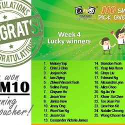 [Face to Face Noodle House] Congratulations to our Week 4 lucky winners!