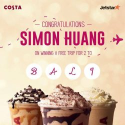 [Costa Coffee Singapore] A Frostino a day and Simon Huang won himself a free trip for two to Bali.