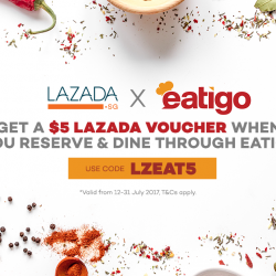 [Lazada Singapore] Fancy a meal and being rewarded with a $5 Lazada voucher?