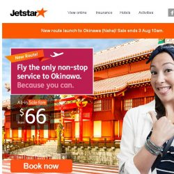 [Jetstar] ✈ Fly direct to Okinawa from $66 all-in! New route launch sale, limited time only.