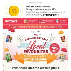 [Redmart] Get $15 off + More Great Savings on Local Favourites