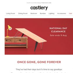 [Castlery] LAST GLANCE, LAST CHANCE – Discontinuing Items on Sale