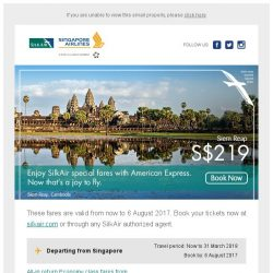 [Singapore Airlines] Enjoy our special fares with American Express to exciting destinations from SGD 139.