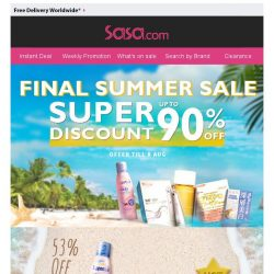 [SaSa ] 【Final Reduction】Up to 90% Off Sun Care & Slimming Hot Items!