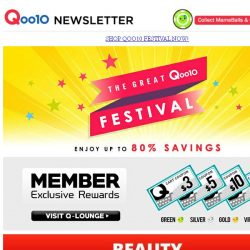 [Qoo10] The Great Qoo10 Festival! Save Up to 80% Off! Only at Qoo10! While Stocks Last! Grab Them All Now!