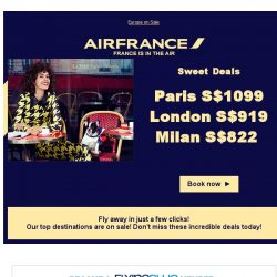 [AIRFRANCE] Don't miss these Sweet Deals to Europe from S$ 822
