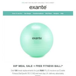 [Exante Diet] Flash Deal | 100 Meal Replacements for £80 + FREE Fitness Ball!