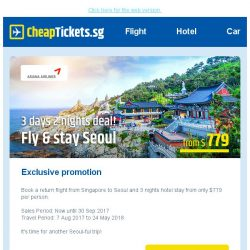 [cheaptickets.sg] Check out our Seoul-ful deal   3D2N from $779   Cities on sale