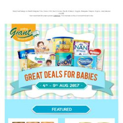 [Giant] 👉 Time to Stock up your 👶 Babies Needs! 💰Save up on Baby 🍼 Milks, Diapers, Accessories and many more!