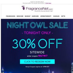 [FragranceNet] Night Owl FLASH Sale🌙 Tonight Only!