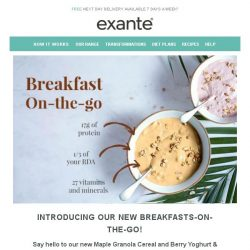 [Exante Diet] Introducing our new Breakfasts-On-The-Go!