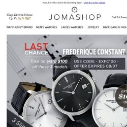 [Jomashop] Final Hours: $50 off Ray-Ban • $100 off Frederique Constant