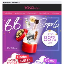 [SaSa ] 【Extra US$28 Instant Discount】Up to 88% Off Top 100 Items!