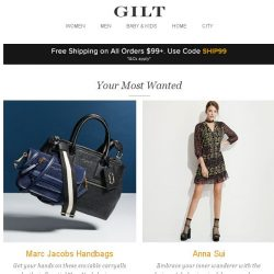 [Gilt] Marc Jacobs Handbags, Anna Sui, James Perse and More Start Today at Noon ET