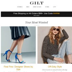 [Gilt] Final Few: Designer Shoes by Size, Off-Duty Style, BedHead PJs for Kids: Extra 20% Off and More Start Today at 9pm ET