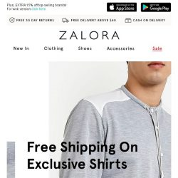 [Zalora] Exclusive shirts with FREE shipping!