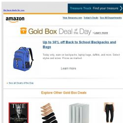 [Amazon] Up to 50% off Back to School Backpacks and Bags