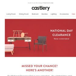[Castlery] SALE EXTENDED – NATIONAL DAY CLEARANCE UP TO 20% OFF