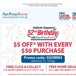 [Fairprice] Enjoy $5 off with every $50 purchase!