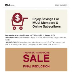 [Muji] Last Weekend of MUJI Members' Week!