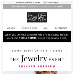 [Saks OFF 5th] STARTING Today: Jewelry Event STEALS