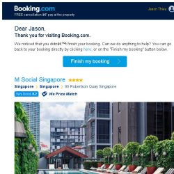 [Booking.com] M Social Singapore – are you still interested in staying, Jason?