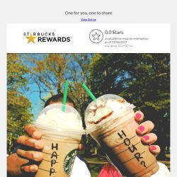 [Starbucks] Happy Hour Treat: 1-FOR-1 Venti-sized beverages