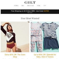 [Gilt] The Swim Shop: Extra 40% Off, Splendid for Kids: Up to 60% Off, Towels: Up to 80% Off and More Start Today at 9pm ET