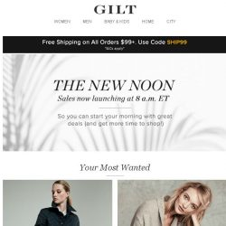 [Gilt] The New Noon: Sales now launching at 8 a.m. ET: Burberry Apparel & Accessories, Sea Bleu Cashmere, Buyers' Picks: Handbags and More Start Today at 8am ET