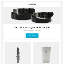 [Massdrop] Don't Mourn, Organize! Bridle Belt, TOPS Knives Tom Brown Scout Fixed Blade, Keith Ti9221 Double-Wall Beer Cup and more...