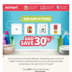 [Redmart] Running low on household and pet care?