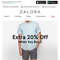 [Zalora] Double Happiness: EXTRA 20% off when you buy 2