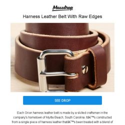 [Massdrop] Orion Harness Leather Belt: Rustic, Raw-Edged & Made to Last for $34.99