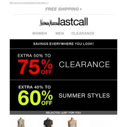 [Last Call] We're unlocking an EXTRA 50%-75% off clearance & 20%-60% off everything else... You made it