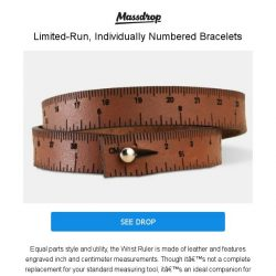 [Massdrop] Wrist Ruler Leather Bracelet: The Measuring Tool You Can Wear for $16.99