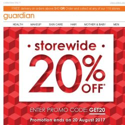 [Guardian] This is YOUR week: Storewide 20% OFF sale to grab all your favorite goodies!