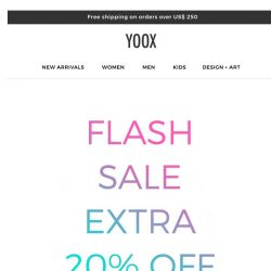 [Yoox] EXTRA 20% OFF your favorite clothing and accessories
