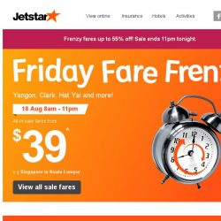[Jetstar] 🕗 Frenzy Fares up to 55% off! Yangon, Clark, Hat Yai and more! Book now.