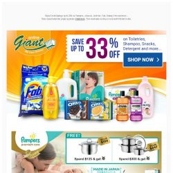 [Giant] 💕 Deals you can't MISS! ✨ Save Up to 33% OFF 💰 on Daily Essentials and Freebies from Pampers, Johnson, Listerine, and more...