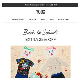 [Yoox] Kids: all they need for school at an EXTRA 25% OFF