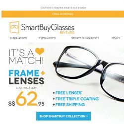 [SmartBuyGlasses] The Perfect Match 💓 Half price Frames & Free 1.5 index lenses | Our SmartBuy Collection