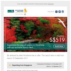 [Singapore Airlines] Don't miss out on our special launch fare to Hiroshima from SGD519.