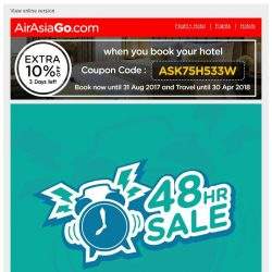 [AirAsiaGo] ⌚ Hi, here's a sneak preview of our upcoming 48 Hour Sale! ⌚
