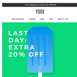 [Yoox] Last day: EXTRA 20% OFF