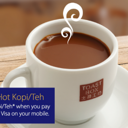Toast Box: Enjoy $0.52 OFF Hot Kopi/Teh When You Pay With Visa payWave Or Visa On Your Mobile!