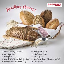 [Swissbake] Eat with no worries when you purchase any of these healthier breads offers from our breadshelves.